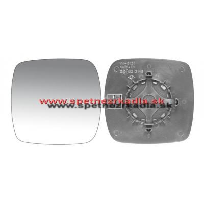 Spätné zrkadlo Renault Kangoo - Ľavé sklo zrkadla s pl. držiakom, konvexné